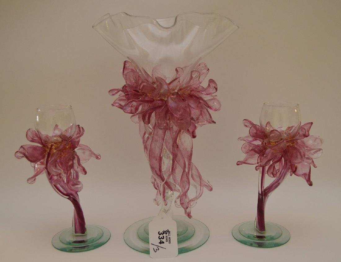 3pc. Pink & clear art glass free form centerpiece, - 3