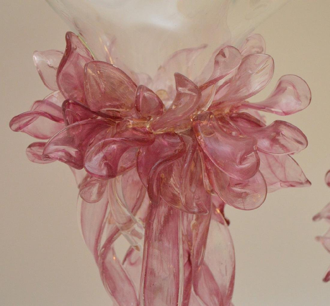 3pc. Pink & clear art glass free form centerpiece, - 6