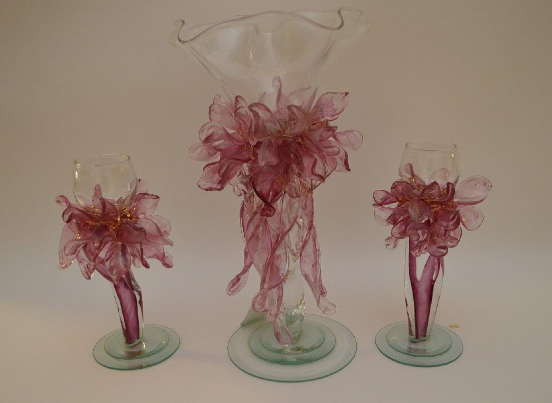 3pc. Pink & clear art glass free form centerpiece, - 9