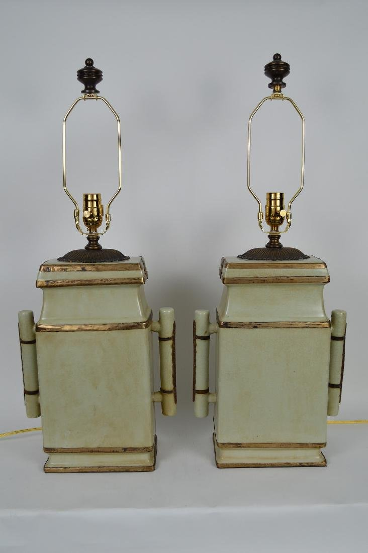 Pair Chinese Celadon color flat sided ceramic lamps,