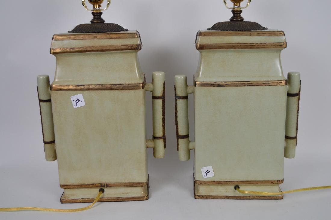 Pair Chinese Celadon color flat sided ceramic lamps, - 4