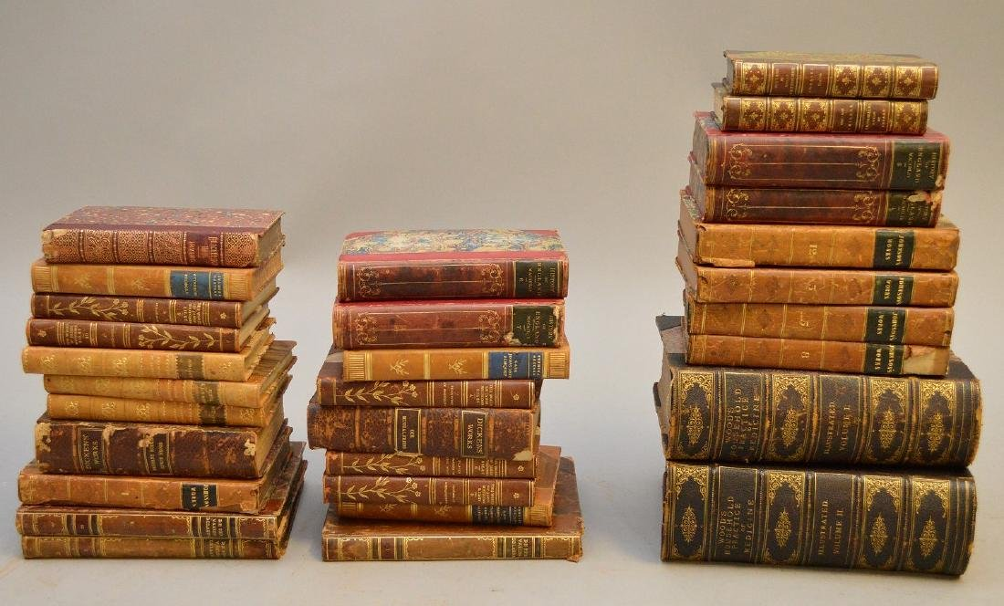 Collection of leather bound books, including 2 early
