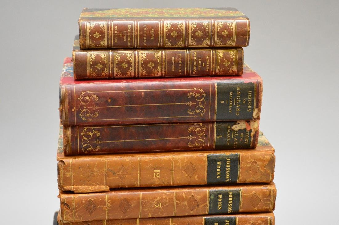 Collection of leather bound books, including 2 early - 2
