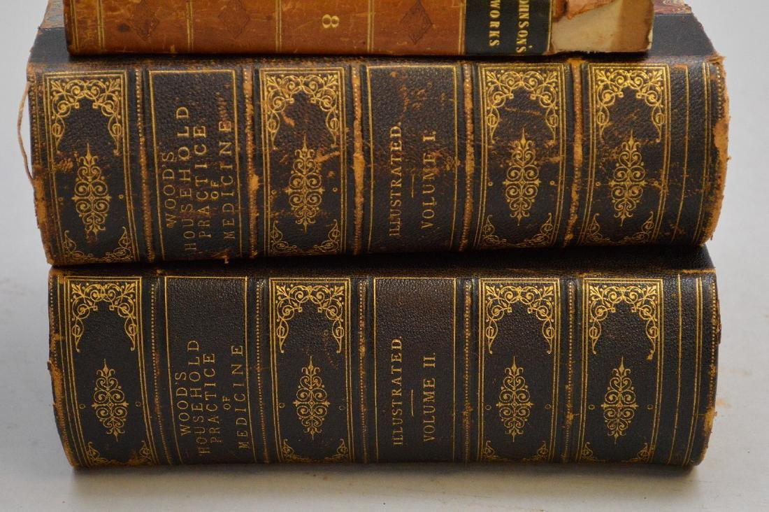 Collection of leather bound books, including 2 early - 4