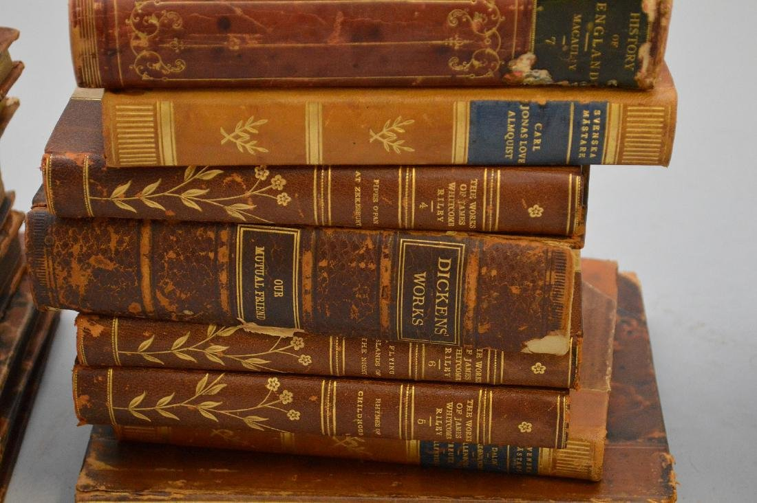 Collection of leather bound books, including 2 early - 6