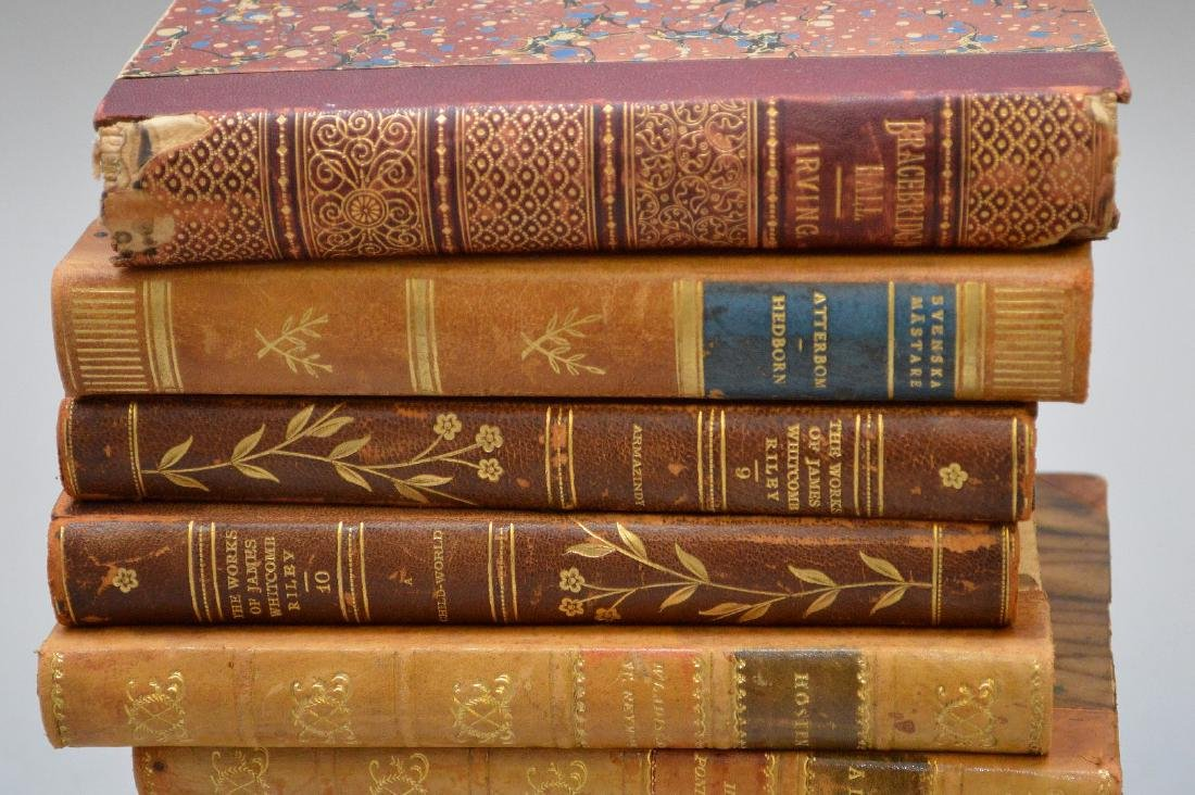 Collection of leather bound books, including 2 early - 7
