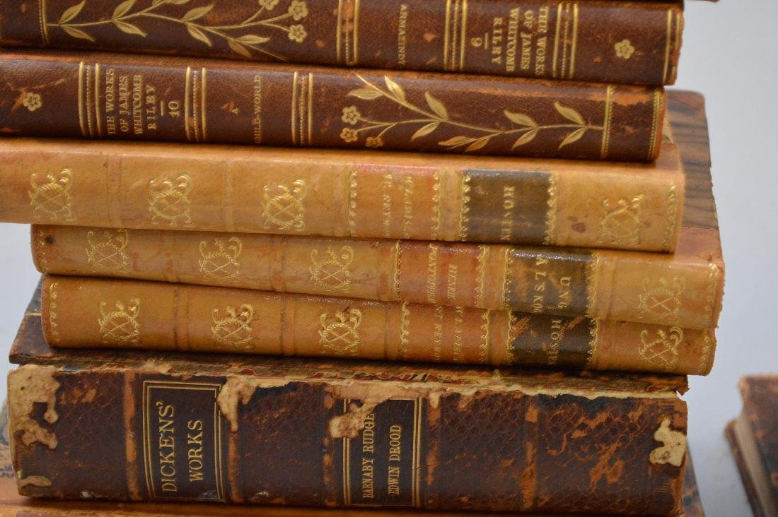 Collection of leather bound books, including 2 early - 8