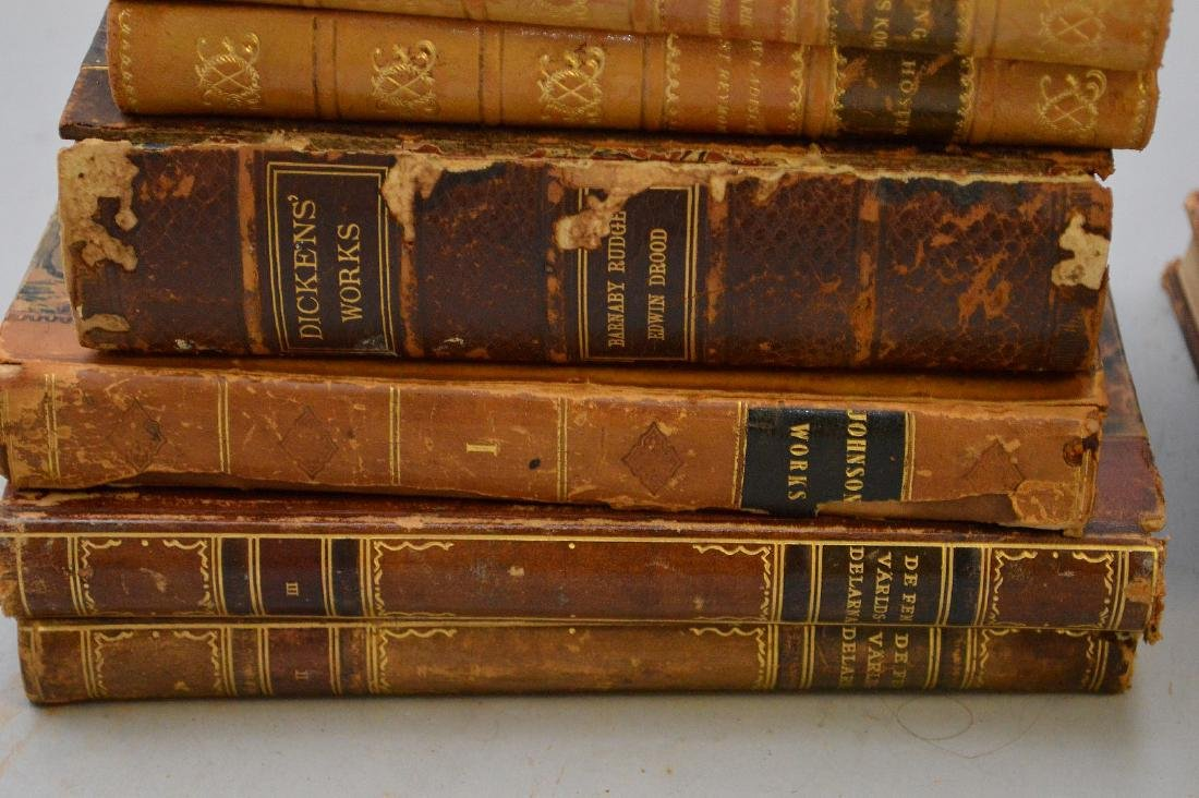 Collection of leather bound books, including 2 early - 9