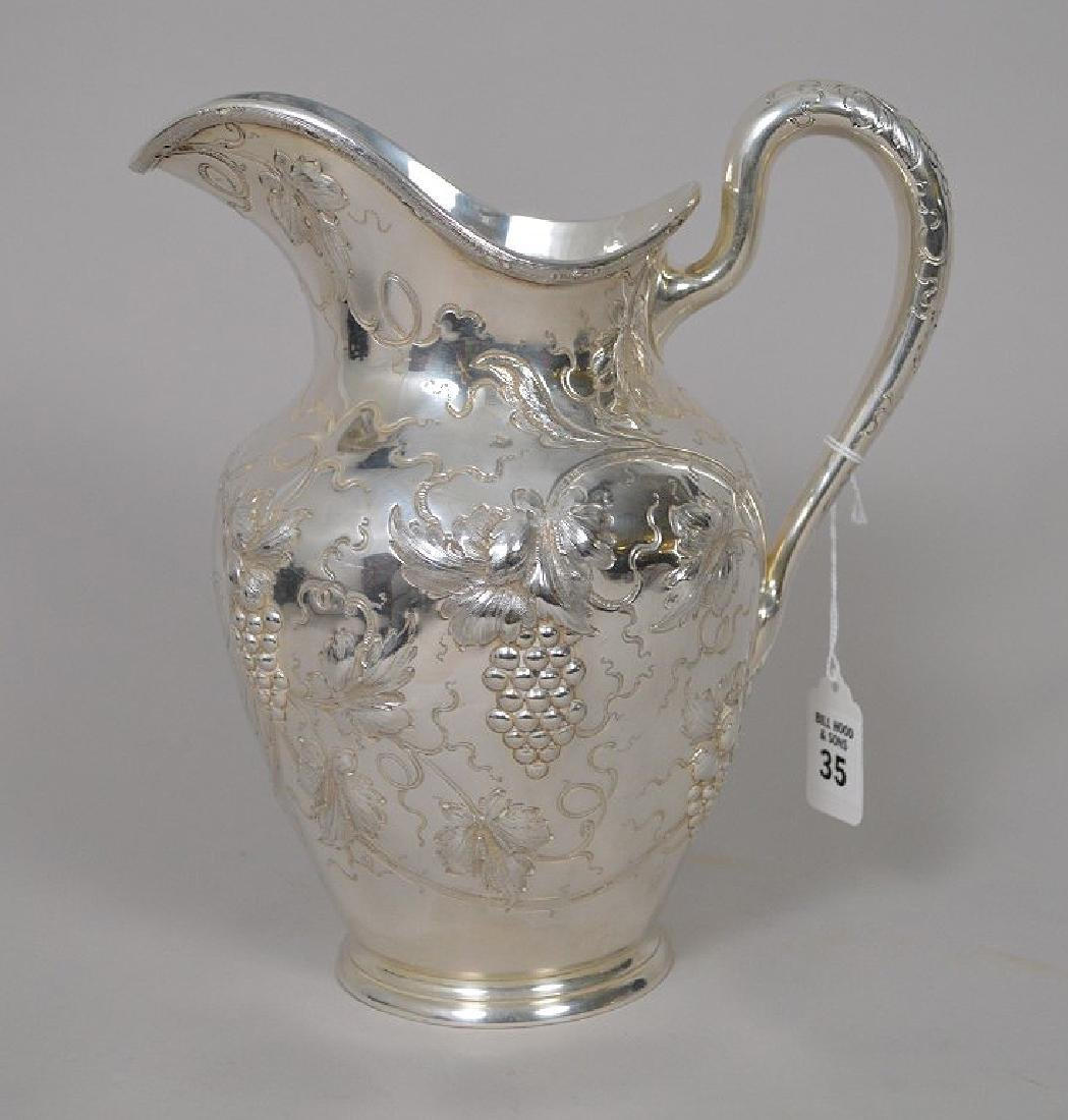 Sterling Silver Repousse Water Pitcher Grapevine Motif.