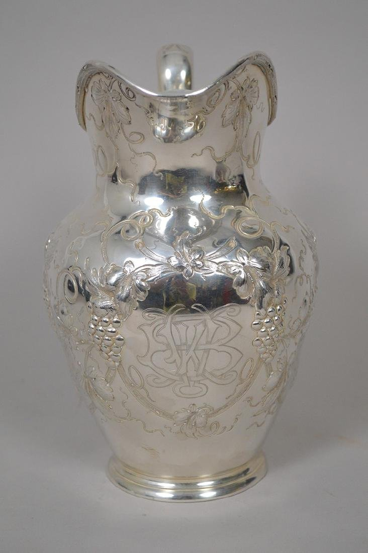 Sterling Silver Repousse Water Pitcher Grapevine Motif. - 4