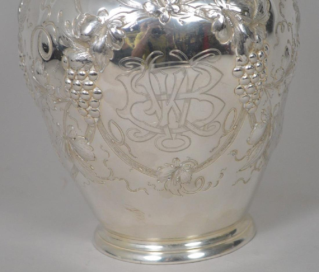 Sterling Silver Repousse Water Pitcher Grapevine Motif. - 5