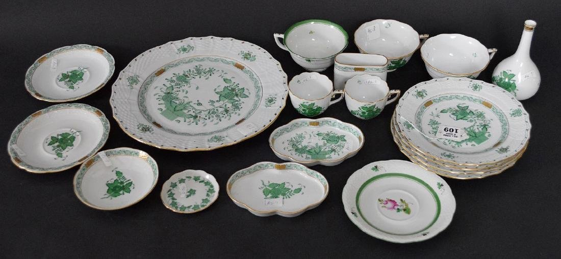 19 pcs. Assorted Herend, mostly green Indian basket