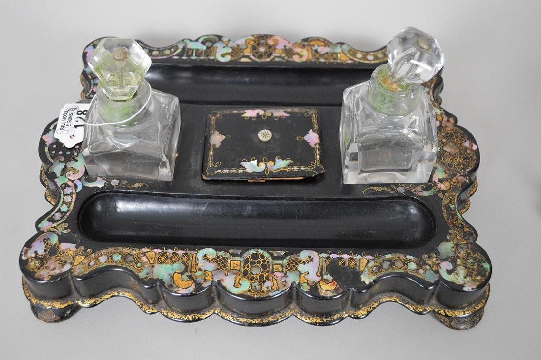 Lacquered black paper mache ink stand with mother of - 4