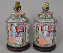 Fine Pair of Chinese Export Rose Medallion Hand Painted