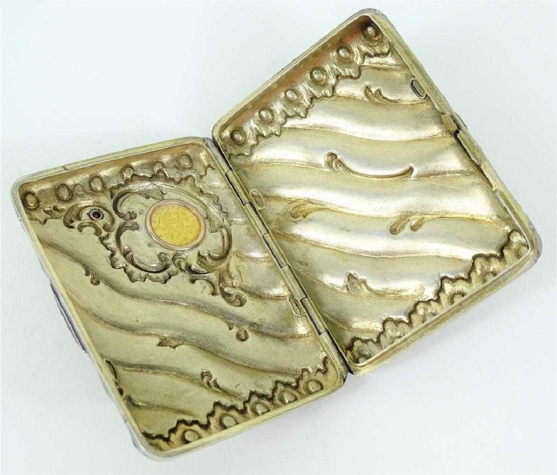 Russian Silver Cigarette Case with Gold Coin - 4