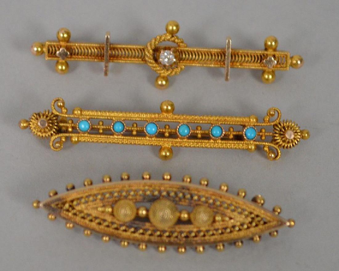 3 Antique 14k Yellow Gold Etruscan bar pin. 14k gold