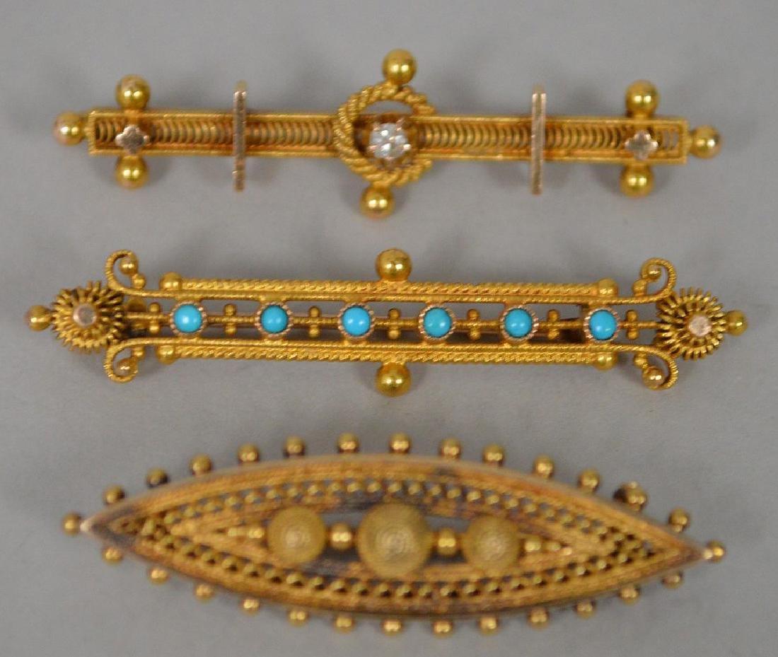 3 Antique 14k Yellow Gold Etruscan bar pin. 14k gold - 2