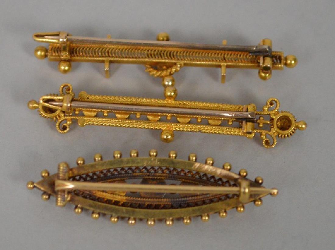 3 Antique 14k Yellow Gold Etruscan bar pin. 14k gold - 4