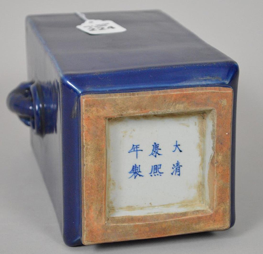 Chinese Qing Cobalt Blue Porcelain Cong Vase with - 5