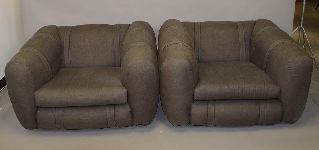 Pair charcoal color upholstered chunky arm chairs
