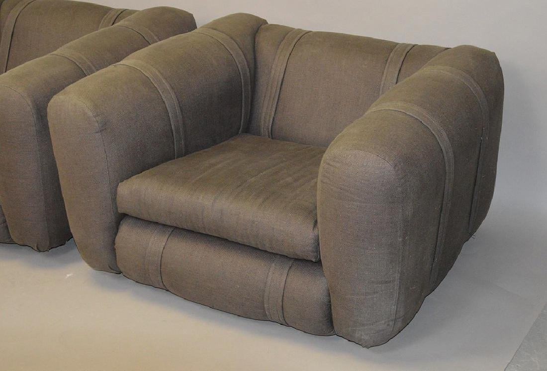 Pair charcoal color upholstered chunky arm chairs - 2