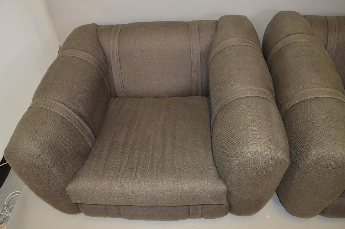 Pair charcoal color upholstered chunky arm chairs - 5