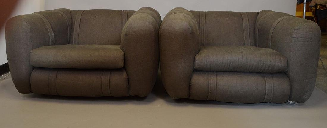 Pair charcoal color upholstered chunky arm chairs - 6