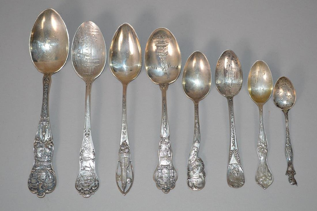 8 Sterling Silver Souvenir Spoons. Weight 4 ozt, 2 New