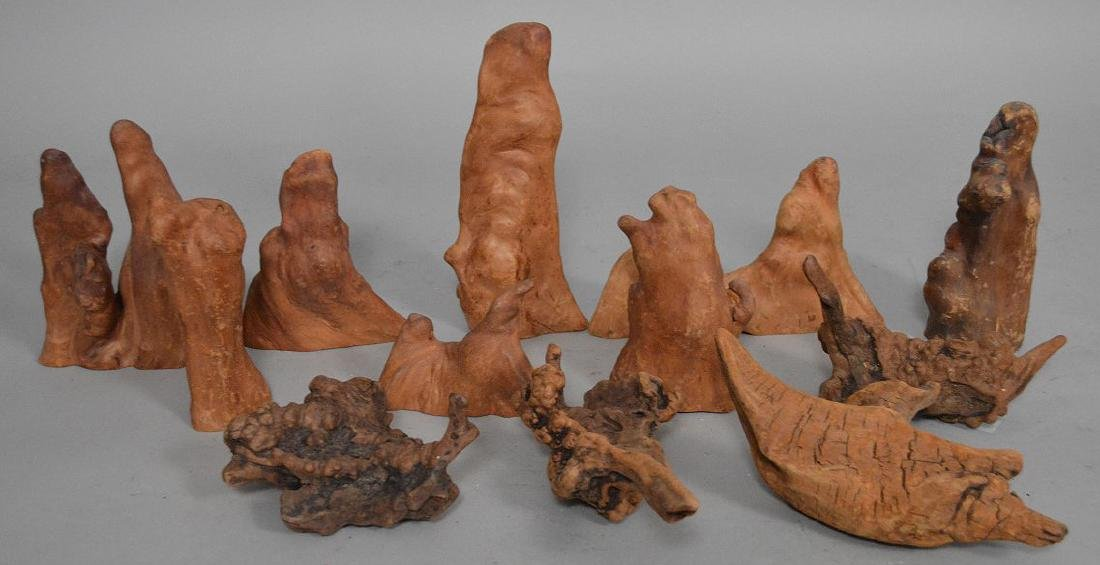 Assorted collection of antique rootwood
