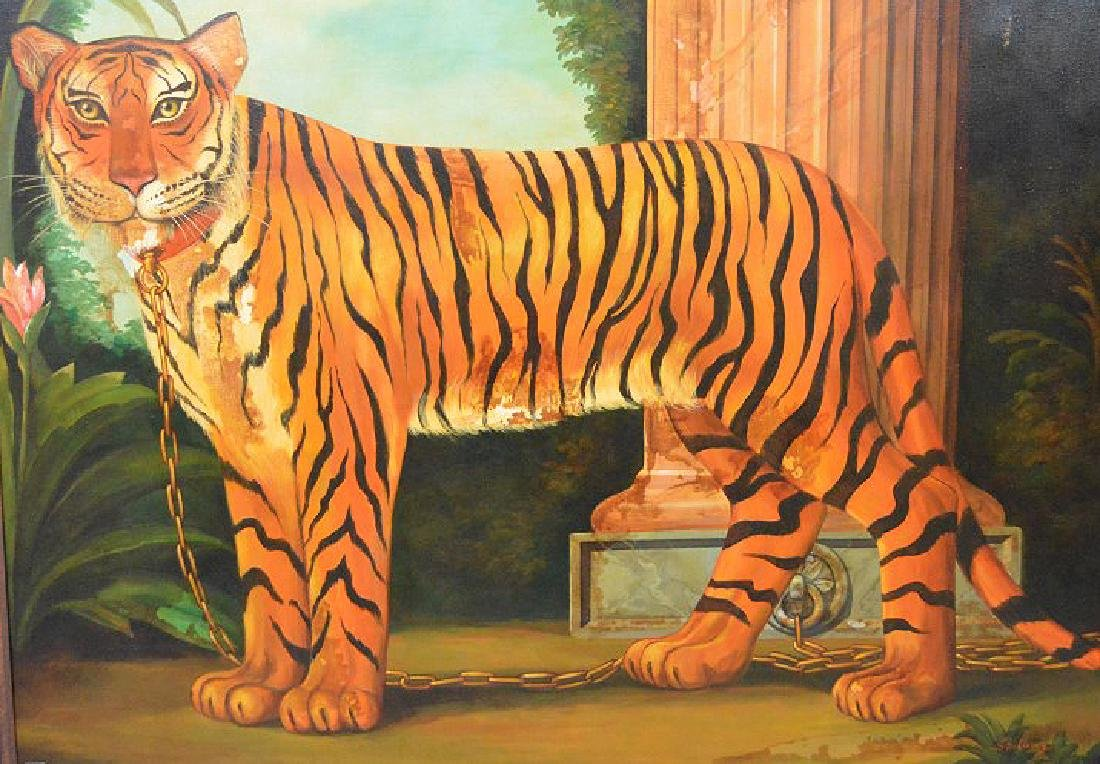 Large oil on canvas Pet Tiger Painting, canvas is 45 x
