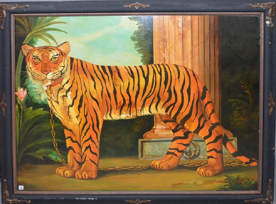 Large oil on canvas Pet Tiger Painting, canvas is 45 x - 2