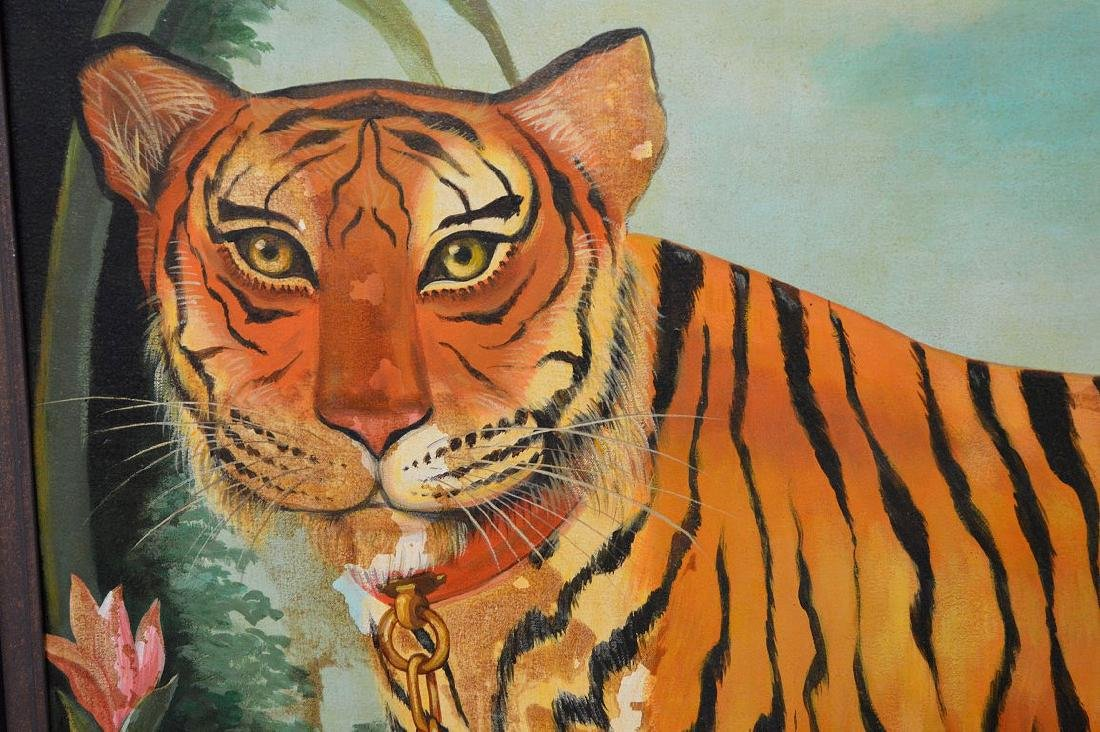 Large oil on canvas Pet Tiger Painting, canvas is 45 x - 3