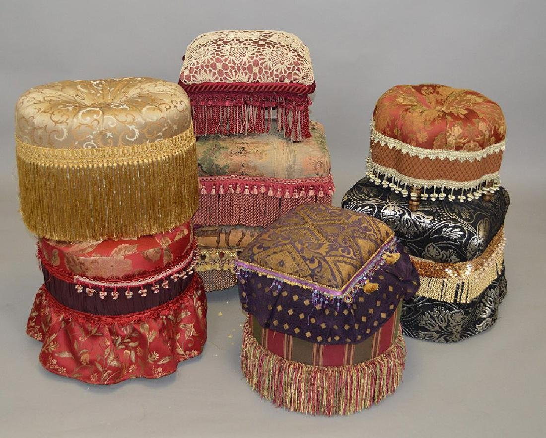 Lot of assorted upholstered ottomans
