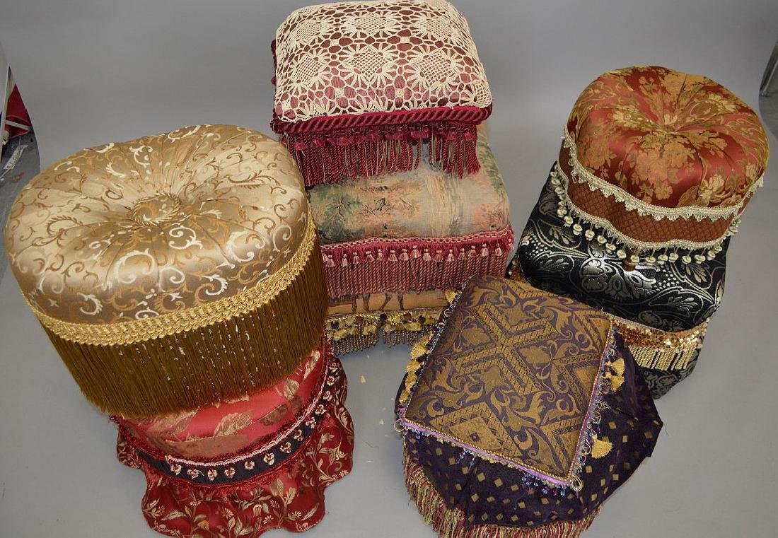 Lot of assorted upholstered ottomans - 2