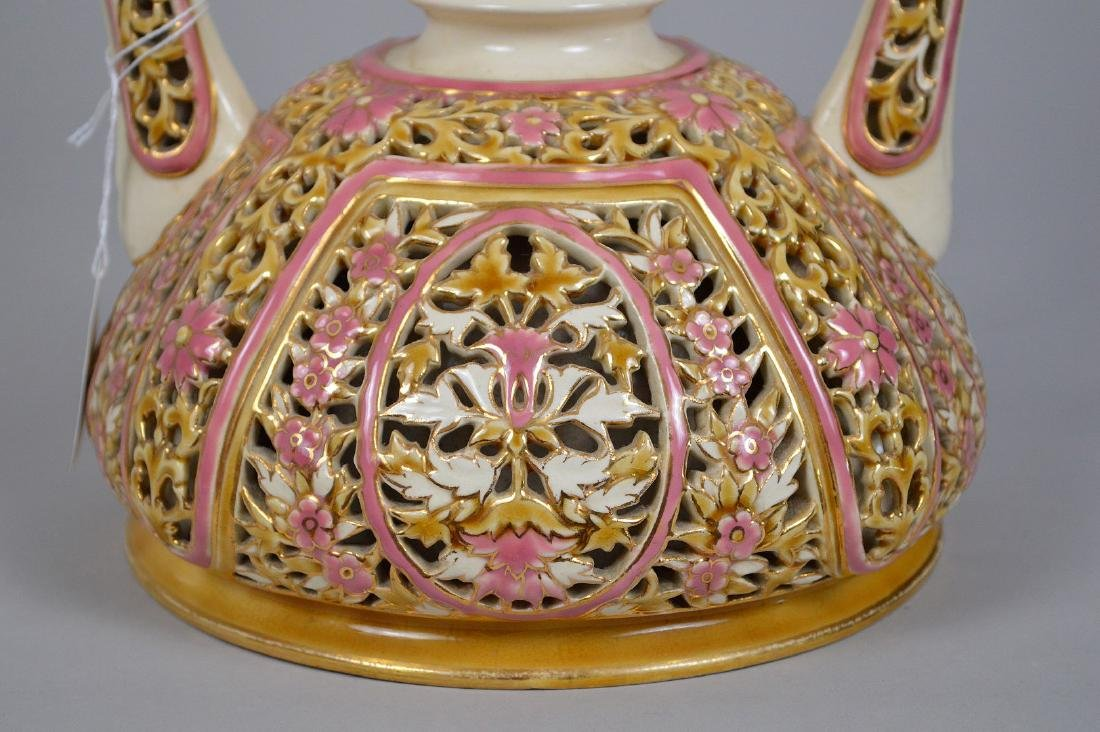 Zsolnay Porcelain Reticulated Porcelain Vase. - 3