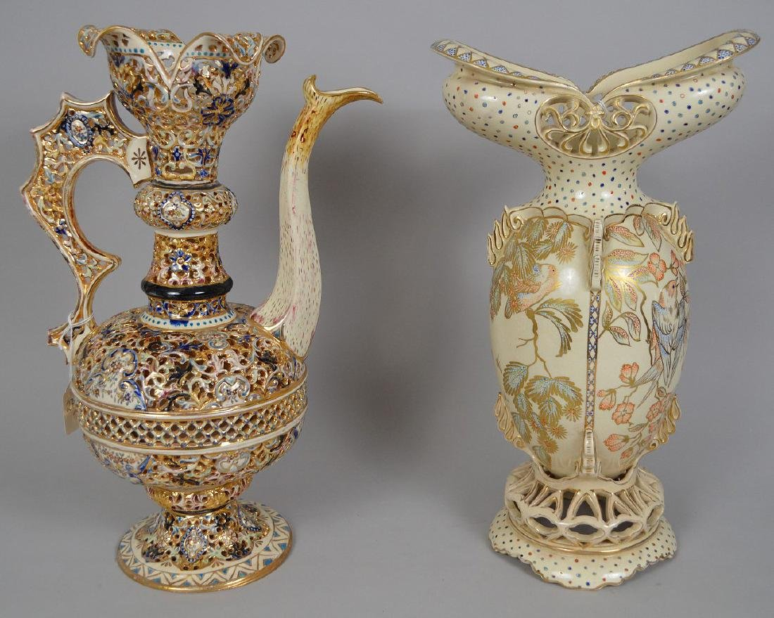 2 Pieces Fischer Budapest Porcelain. Reticulated