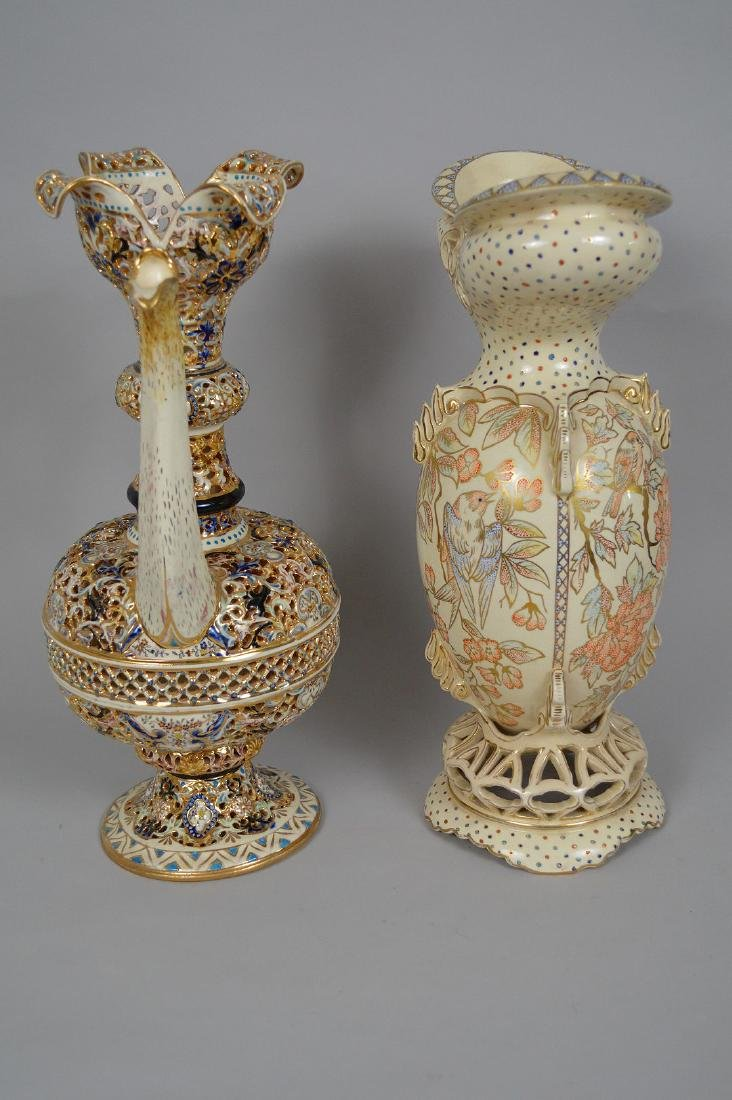 2 Pieces Fischer Budapest Porcelain. Reticulated - 7