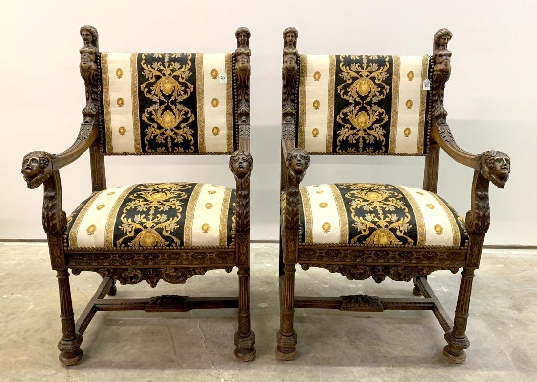 Pair 19th c. carved walnut & upholstered arm chairs,