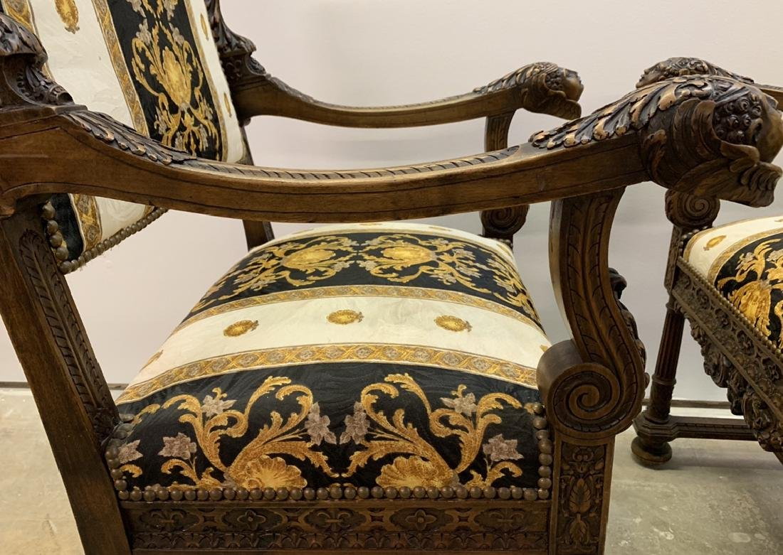 Pair 19th c. carved walnut & upholstered arm chairs, - 5