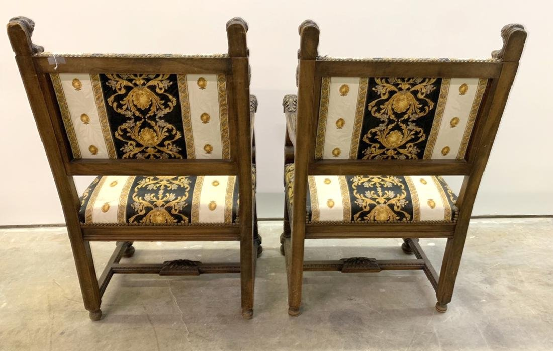 Pair 19th c. carved walnut & upholstered arm chairs, - 6