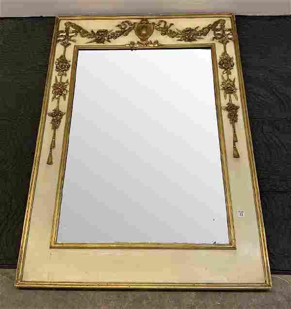 """Italian carved & giltwood Trumeau mirror, 56""""h x 39""""w"""