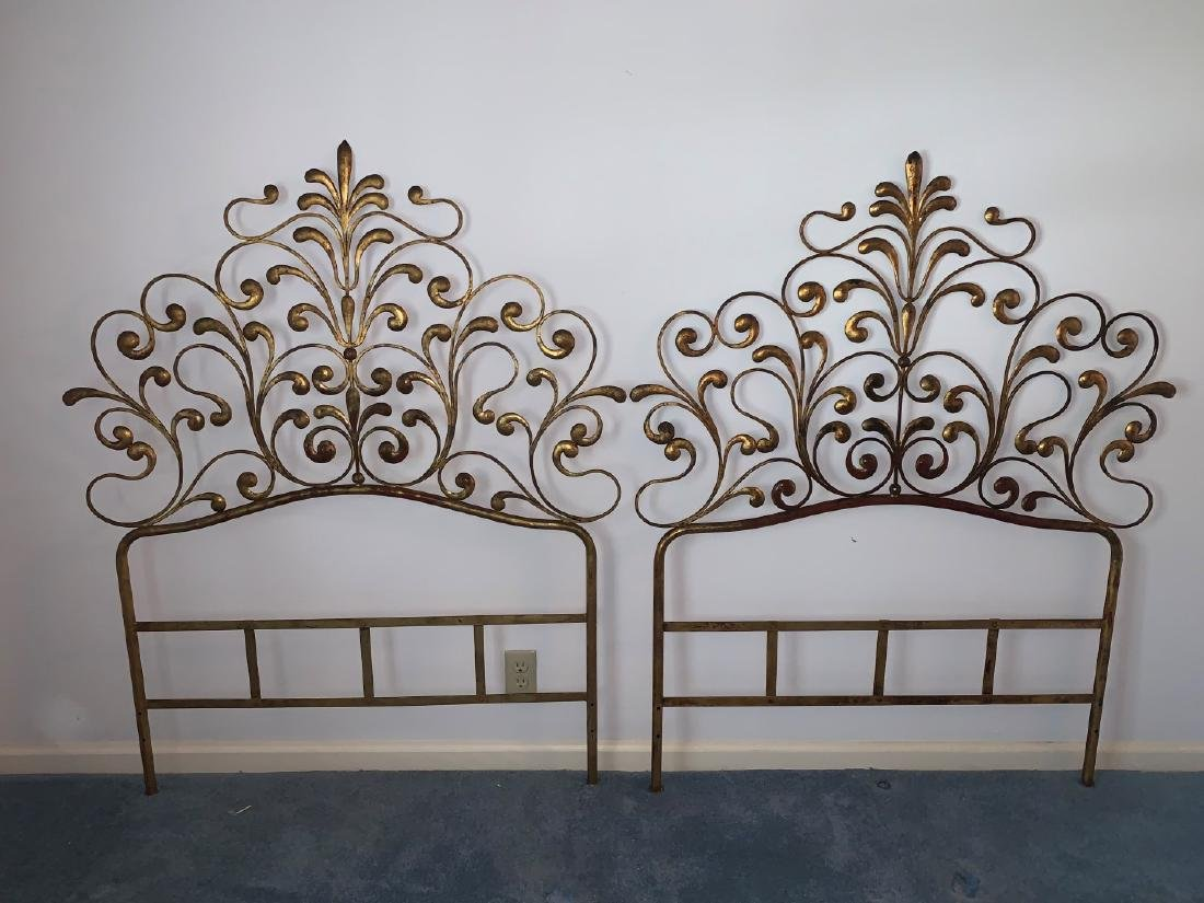 2 gilt metal twin Hollywood Glam headboards