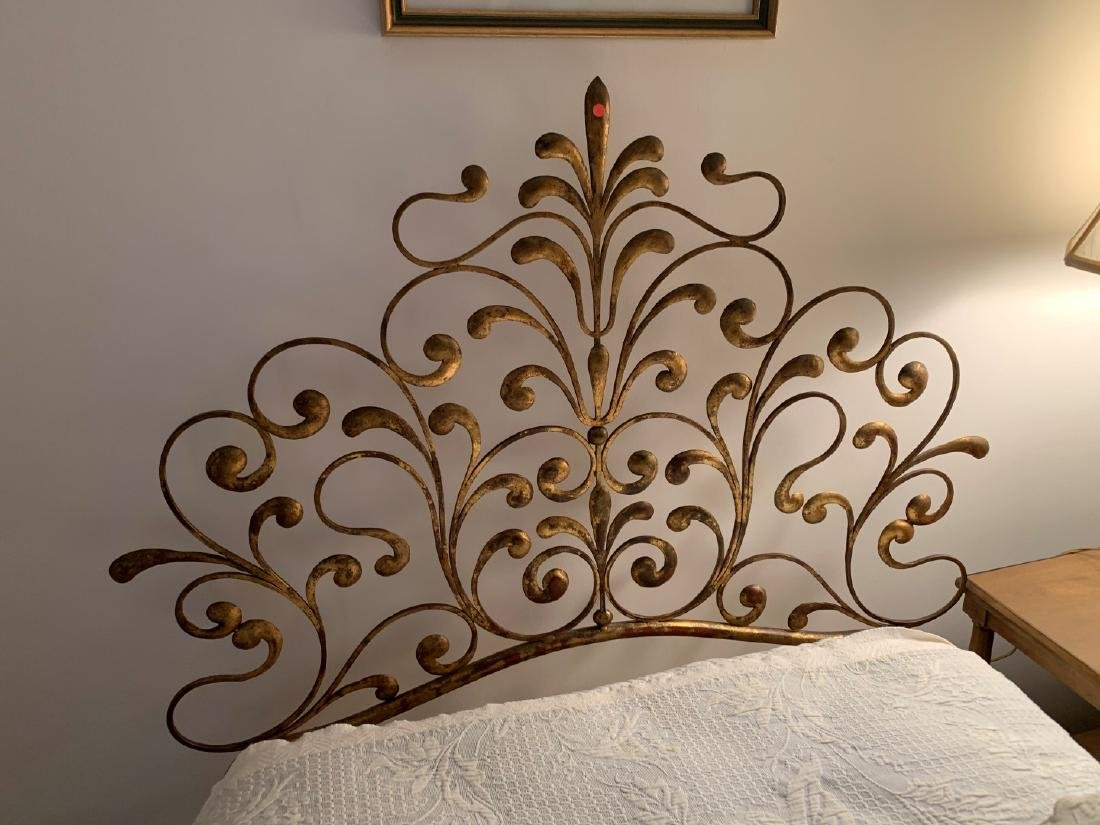 2 gilt metal twin Hollywood Glam headboards - 6