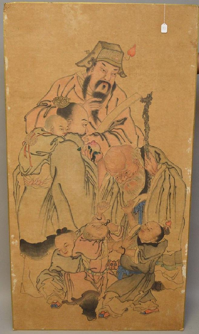 Large Chinese Watercolor On Paper laid down on board