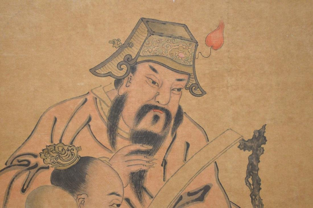 Large Chinese Watercolor On Paper laid down on board - 2