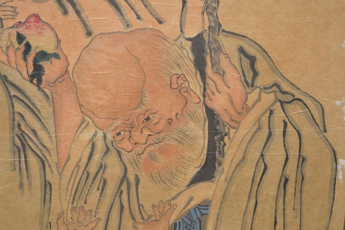 Large Chinese Watercolor On Paper laid down on board - 4
