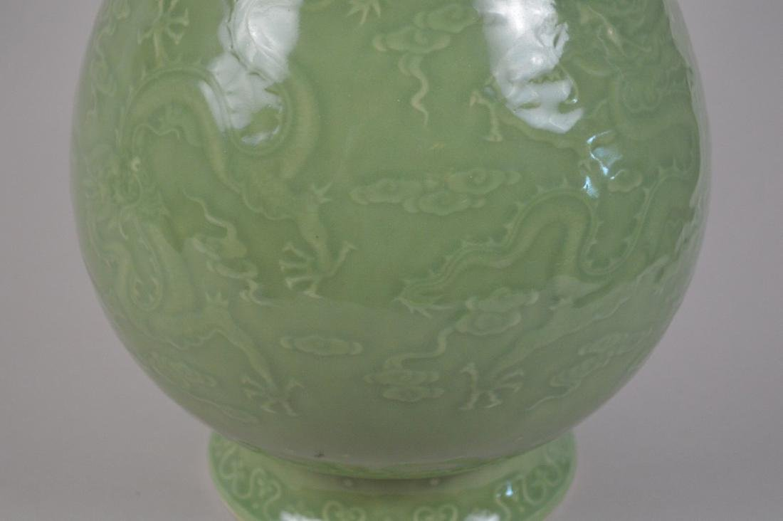 Chinese celadon porcelain vase with figural handles and - 2