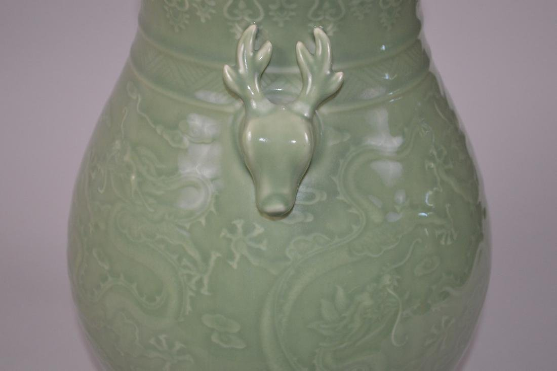 Chinese celadon porcelain vase with figural handles and - 6