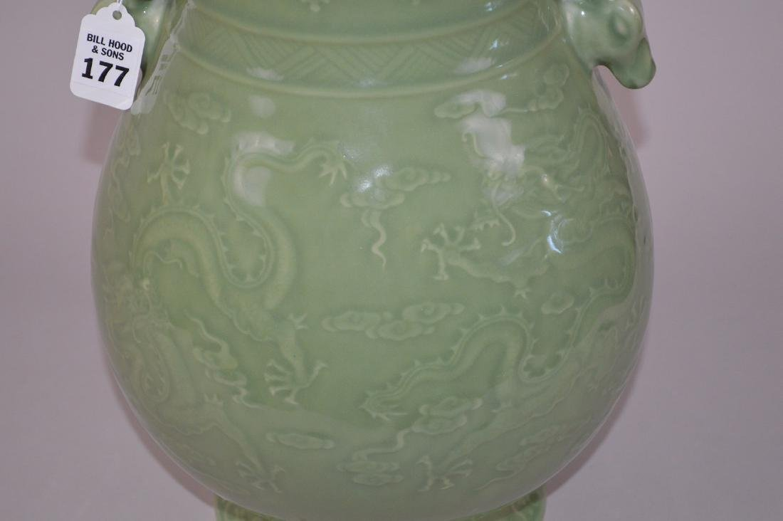 Chinese celadon porcelain vase with figural handles and - 7