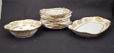 13 Pieces J Pouyat Limoges Porcelain. 11 Plates